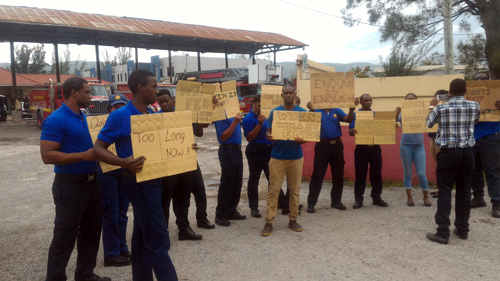 Firefighters stage protest